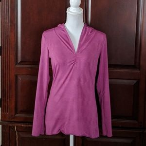 PrAna hooded striped long sleeve top size small